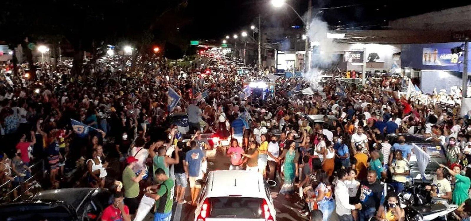 [Comemorações de reeleição dos prefeitos em Feira de Santana e Vitória da Conquista geram aglomerações]