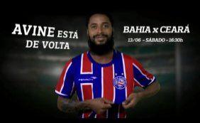 [Após quase três anos, Ávine volta a ser relacionado para jogo do Bahia]