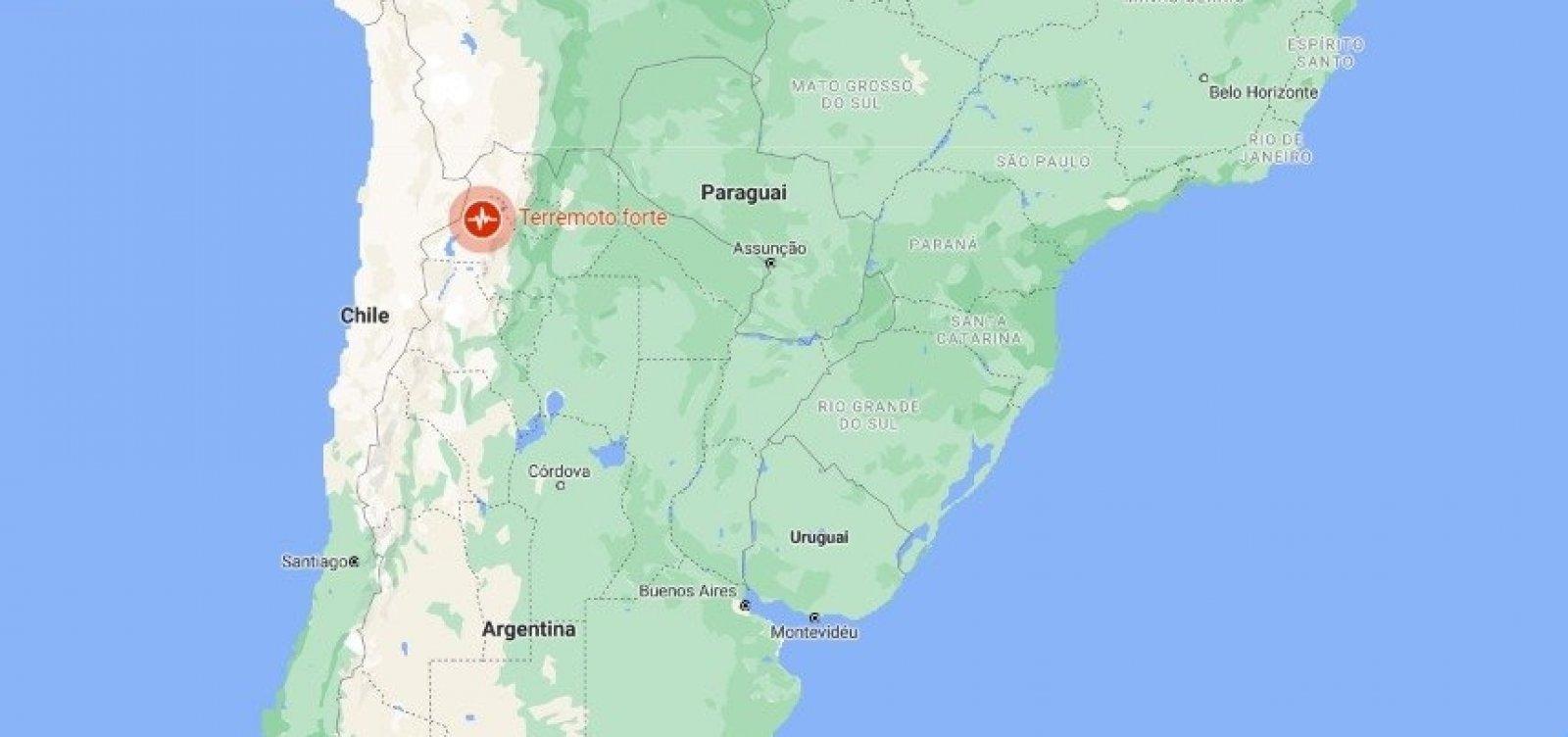 [Terremotos são registrados na Argentina e no Chile]