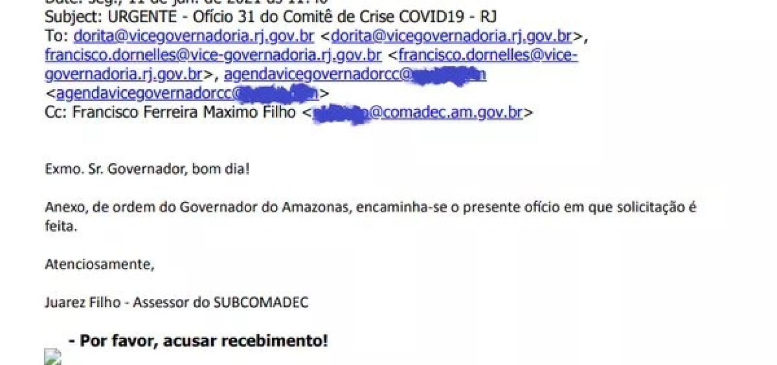 [Pedido de oxigênio feito pelo governo do Amazonas ao estado do RJ foi enviado para e-mail errado]