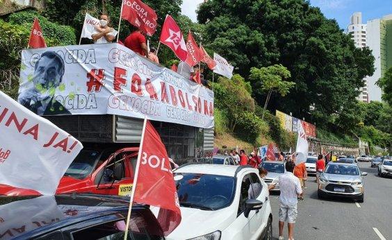 [Carreata contra Bolsonaro e a favor da vacina é realizada no Centro]