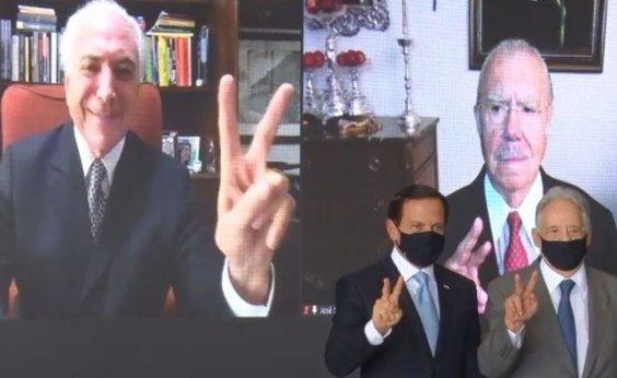 [Em ato de Doria com ex-presidentes a favor da vacinação, Temer diz que China enviará insumos ao Brasil ]