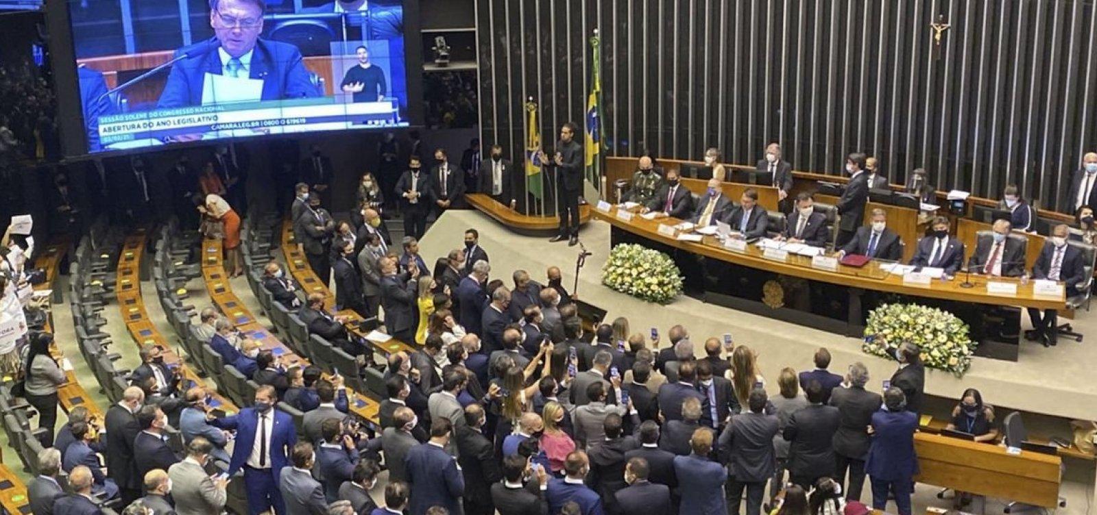 [Ao lado de Fux, Pacheco e Lira, Bolsonaro lê mensagem ao Congresso ]