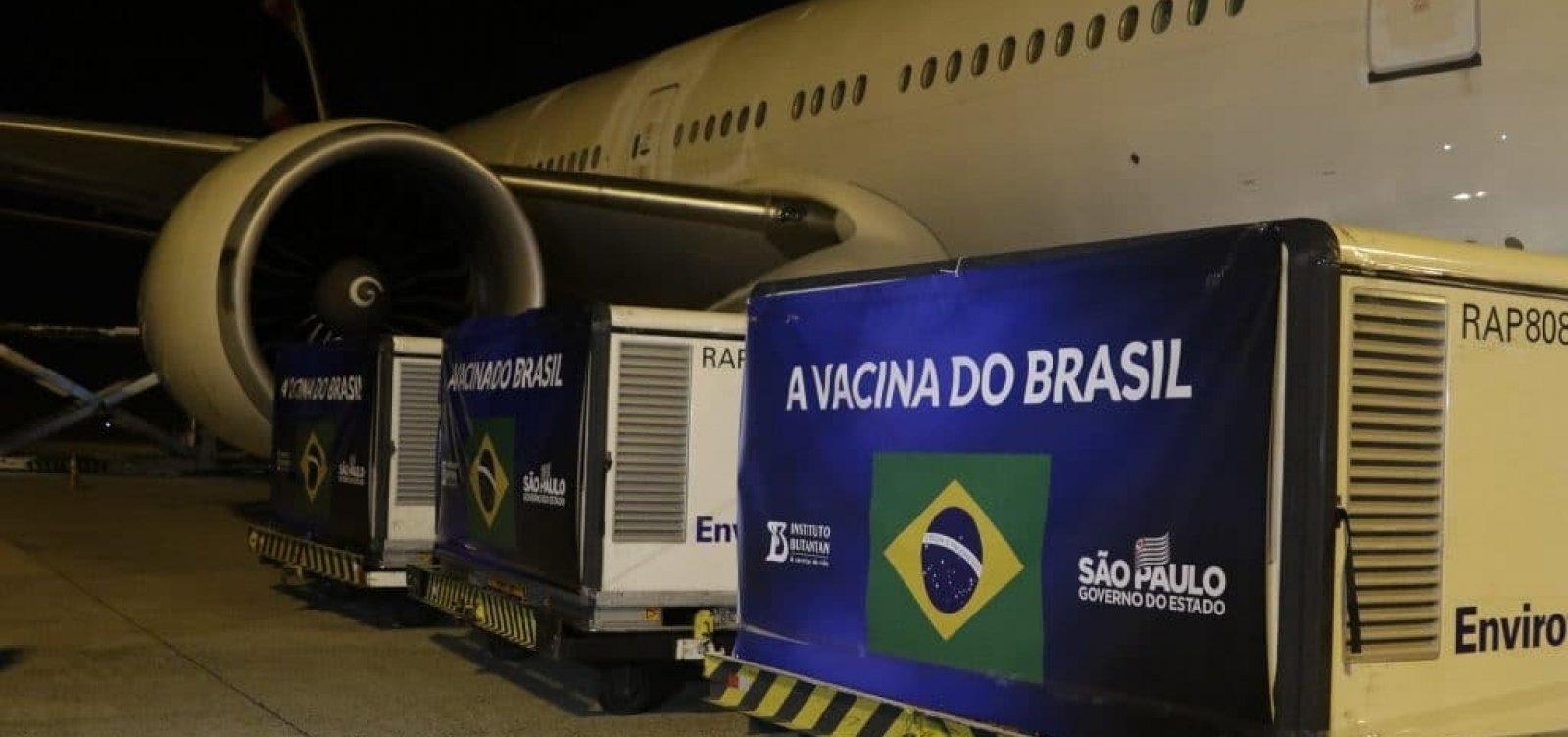 [Chegam ao Brasil 5,4 mil litros de insumos para Coronavac]