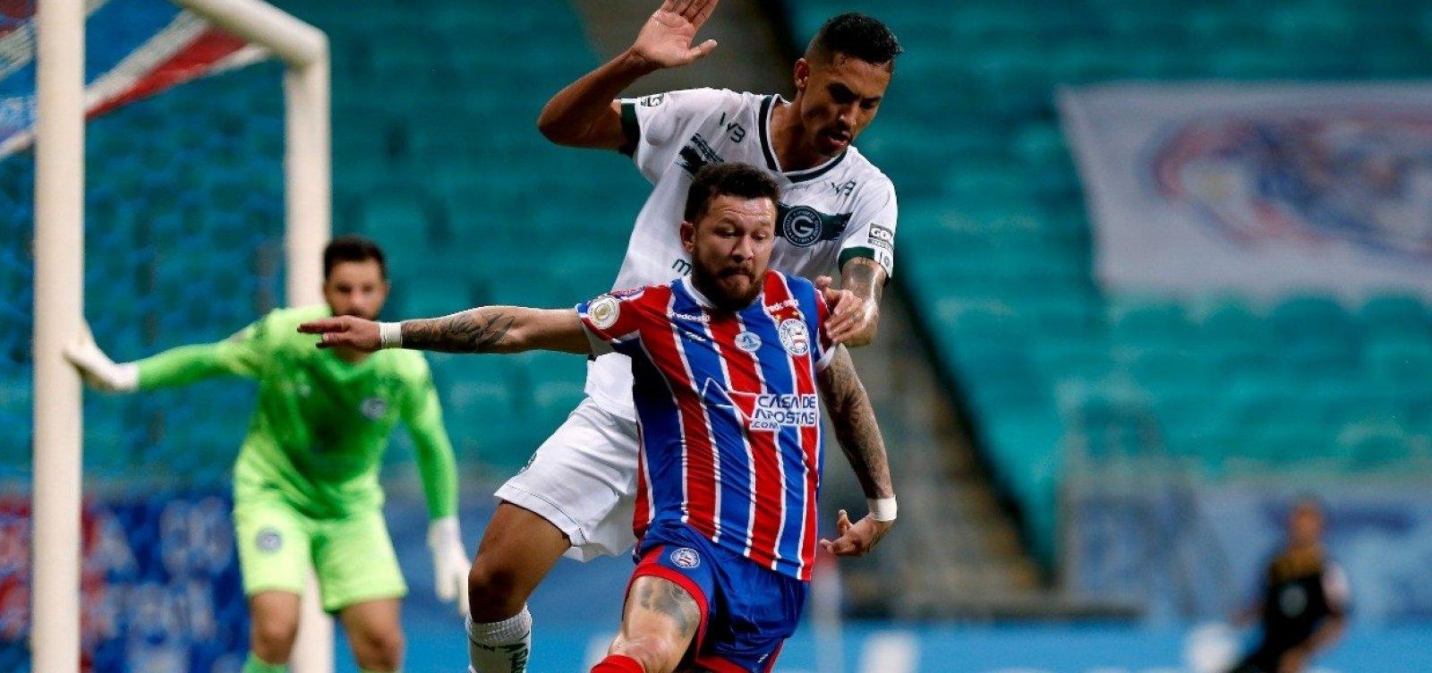 [Em jogo de seis gols, Bahia e Goiás empatam em 3 a 3 na Fonte Nova]