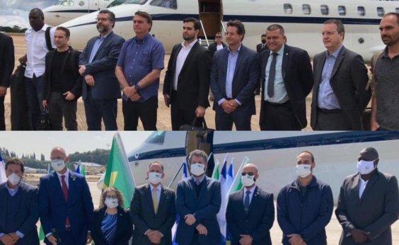 [Representantes do governo embarcam a Israel sem máscaras, mas utilizam equipamentos ao chegar ao país]