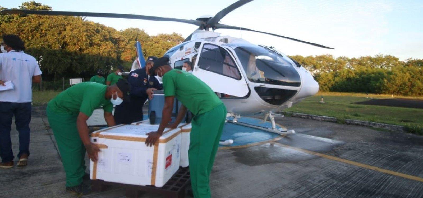 [Aeronaves iniciam distribuição de novo lote de vacinas contra Covid-19 aos municípios baianos]