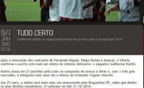 [Site oficial do Vitória antecipa renovação de contrato do volante Amaral]