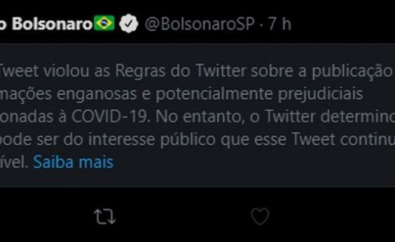 [Twitter coloca aviso de publicação enganosa em post de Eduardo Bolsonaro sobre 'lockdown']