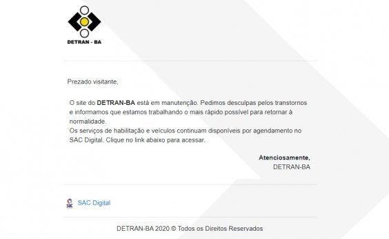 [Site do Detran-BA completa 24h fora do ar após ataque de hackers]