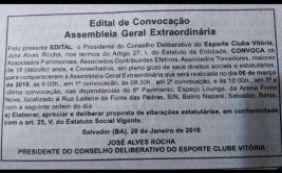 [Após decisão da justiça, nova Assembleia Geral é convocada no Vitória]