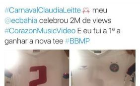 [Claudia Leitte ganha presente do Bahia por marca recorde de música]