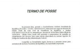 [Termo de posse só tem assinatura de Lula; Planalto divulgou documento]