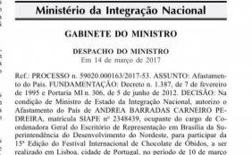 [Servidora viajou para Festival do Chocolate com verba da Secti, diz Sudene]