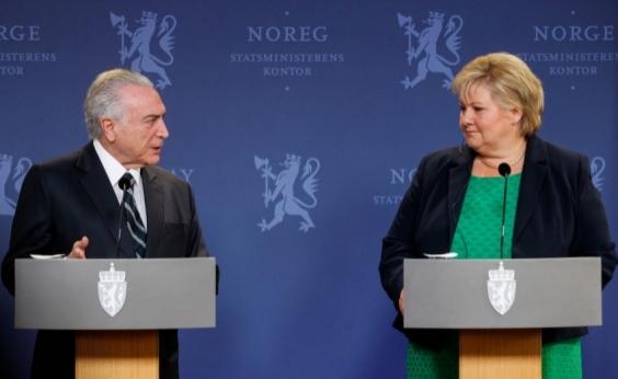 Durante visita de Temer, Noruega anuncia corte de quase R$ 200 milhões ao Fundo da Amazônia