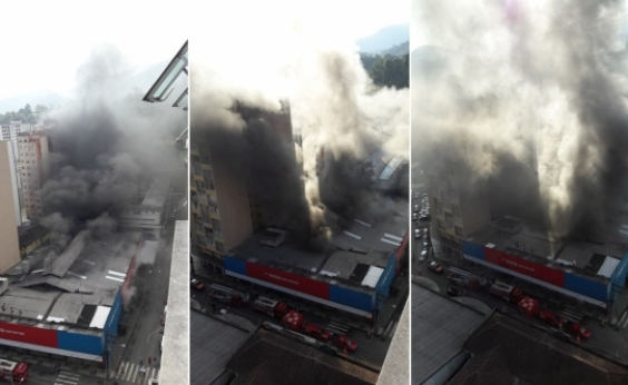 Supermercado no Rio de Janeiro fica destruído em incêndio que já dura mais de 24 horas
