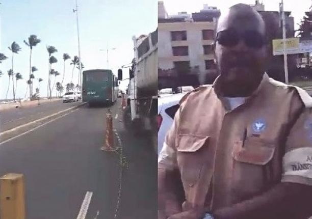 Agente da Transalvador xinga pedestre após questionamento sobre obra: