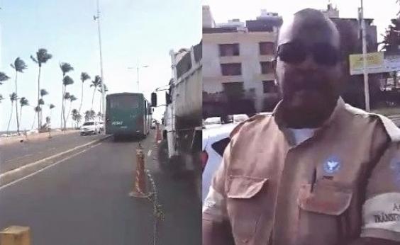 [Agente da Transalvador xinga pedestre após questionamento sobre obra: