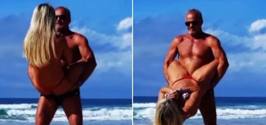 [Kadu Moliterno treina com esposa na praia e exibe boa forma: \