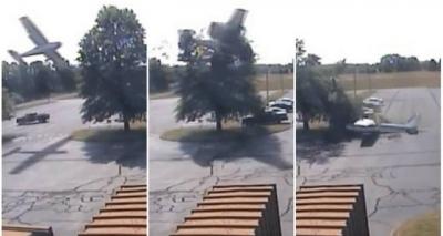 Vídeo mostra queda de avião em estacionamento nos EUA; piloto sai ileso