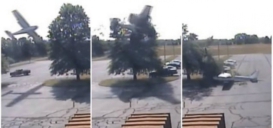 [Vídeo mostra queda de avião em estacionamento nos EUA; piloto sai ileso]