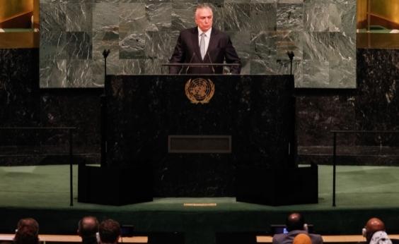 Durante discurso na ONU, Temer defende abertura do Brasil para temas do mundo