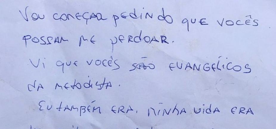 [Arrependido, ladrão devolve carro roubado e pede perdão em carta:
