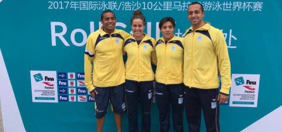 [Ana Marcela conquista medalha de ouro na China; Allan do Carmo é prata ]