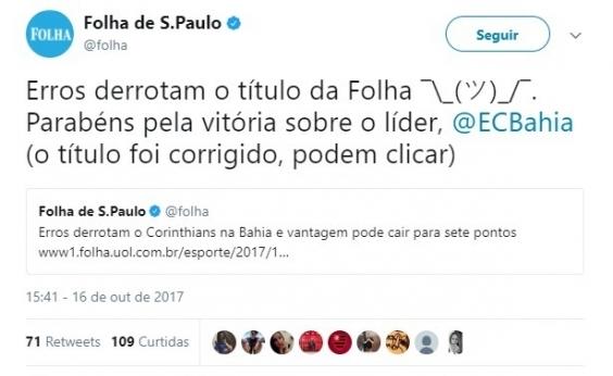 Jornal pede desculpas após tratar vitória do Bahia sobre o Corinthians como erro