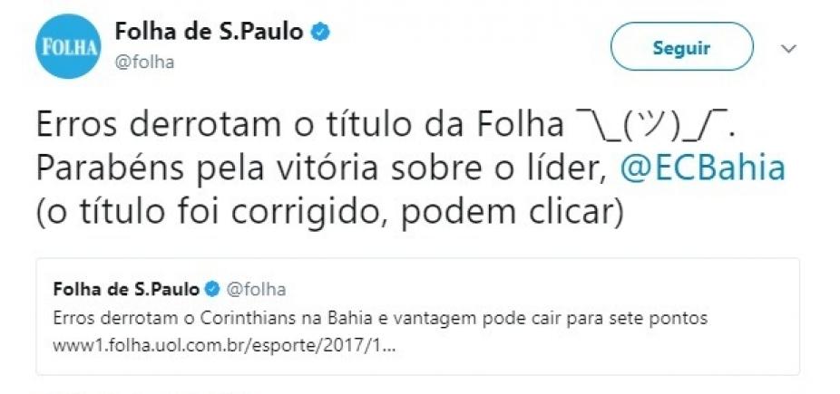 [Jornal pede desculpas após tratar vitória do Bahia sobre o Corinthians como