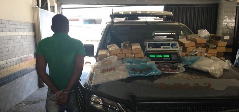 [Suspeito de tráfico de drogas é preso com 35 kg de maconha em São Cristóvão]