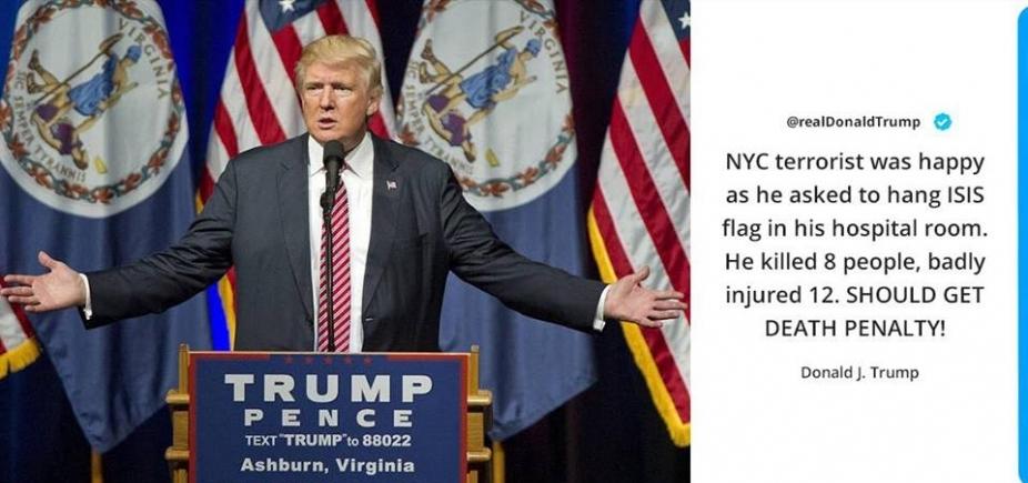 [No Twitter, Trump recomenda que pena de morte seja aplicada a autor de atentado em Nova York]