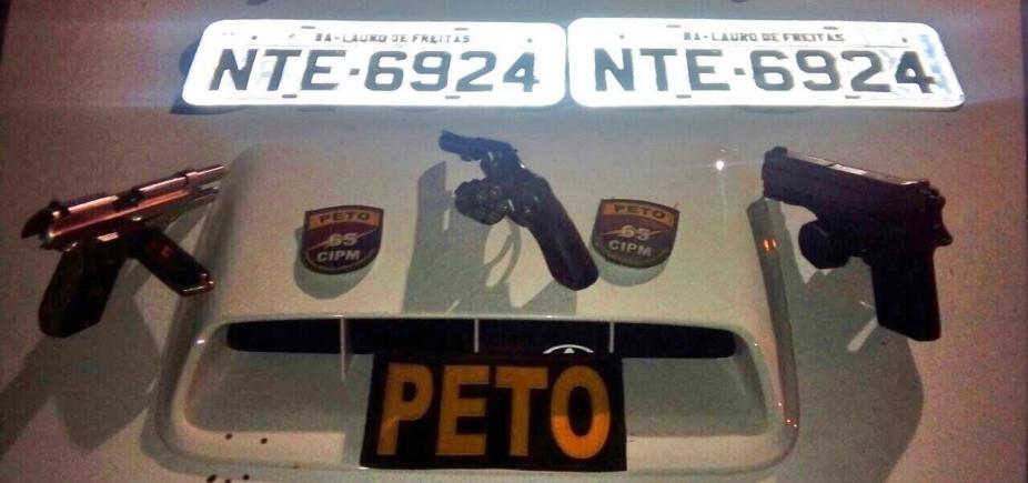 [Polícia apreende pistolas e revólver durante abordagem em Feira de Santana]