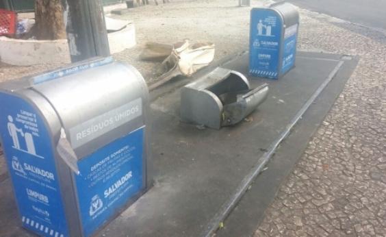 Orla tem maior registro de lixeiras vandalizadas