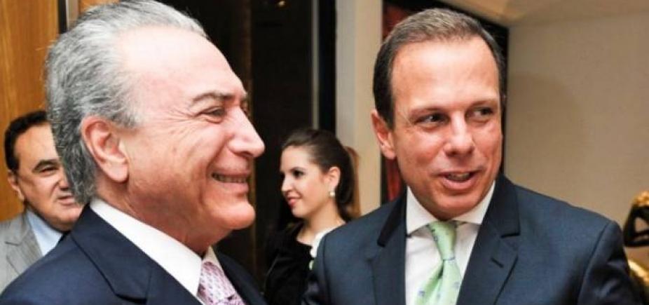 [Temer se reúne com Doria em São Paulo para discutir alianças eleitorais]