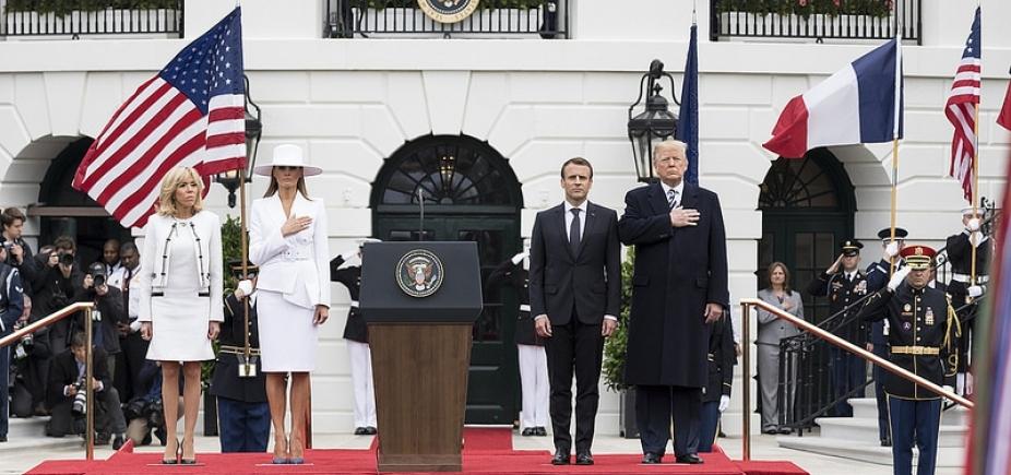 [Trump e Macron demonstram aproximação durante visita de presidente francês]