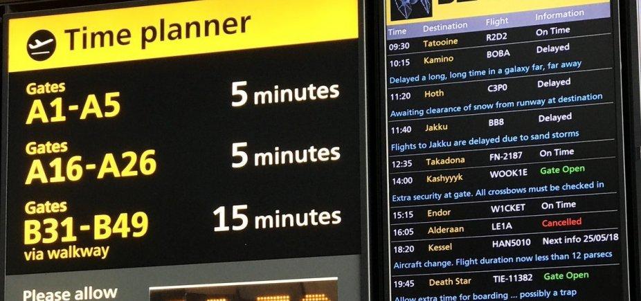 [Aeroporto de Londres homenageia o Star Wars Day]