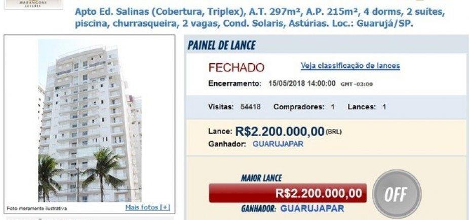 [Triplex de Lula é arrematado com oferta única de R$ 2,2 milhões]
