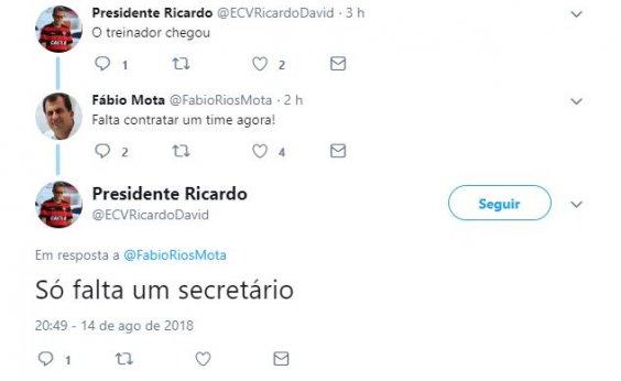 [Secretário discute com 'fake' de presidente do Vitória no Twitter]