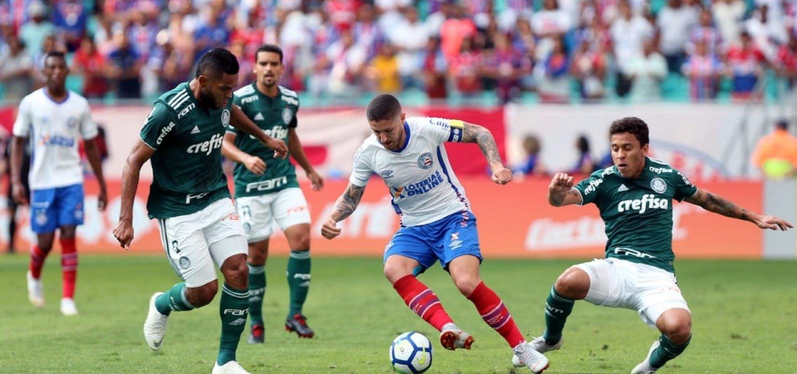 [Bahia empata em 1 a 1 com o Palmeiras e sai vaiado da Fonte Nova]