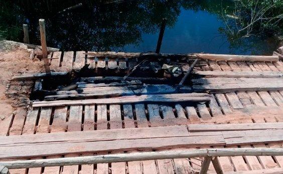 [Ponte que dá acesso a distrito no sul do estado é incendiada]