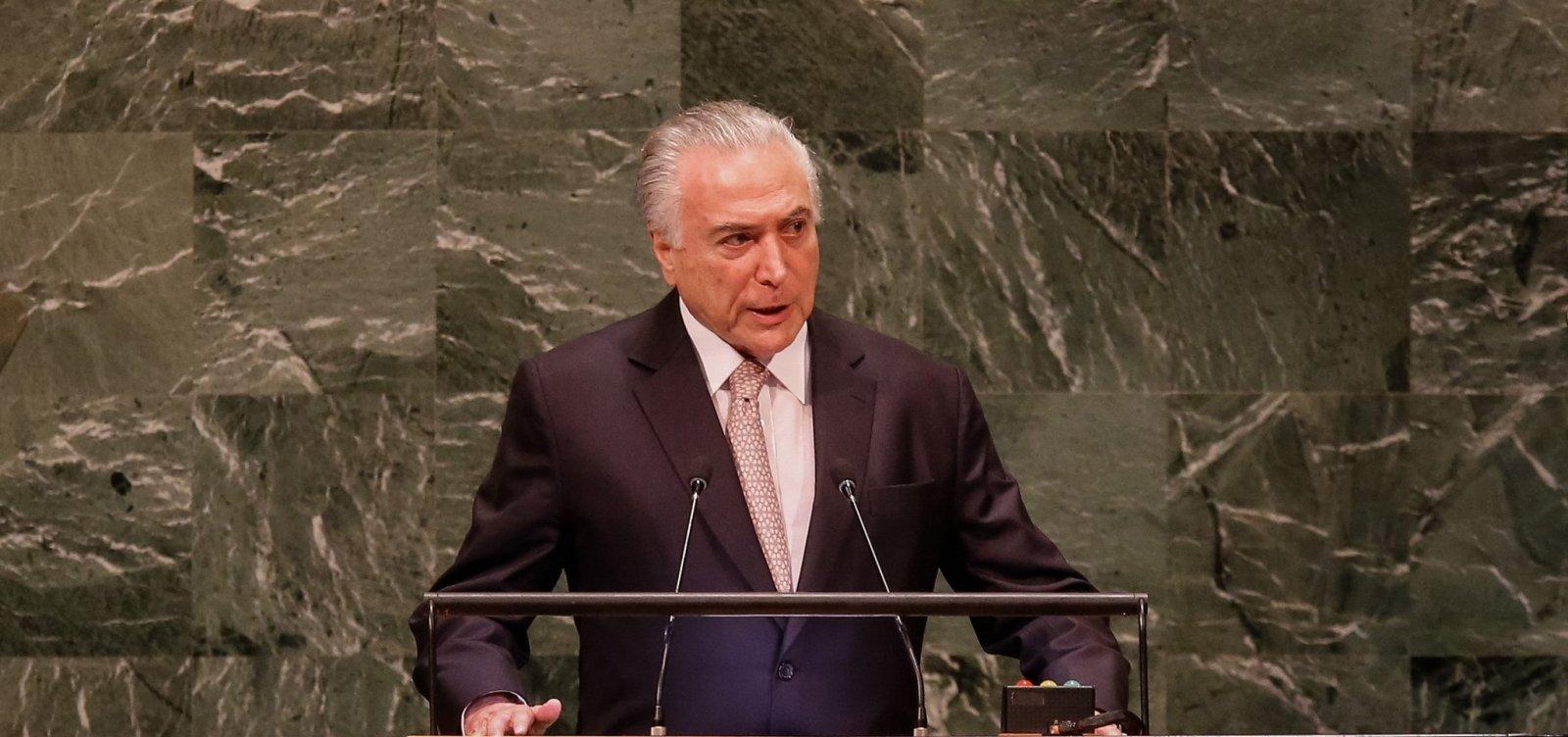 [Temer diz na ONU que deixa Presidência com 'tranquilidade': 'Dever cumprido']