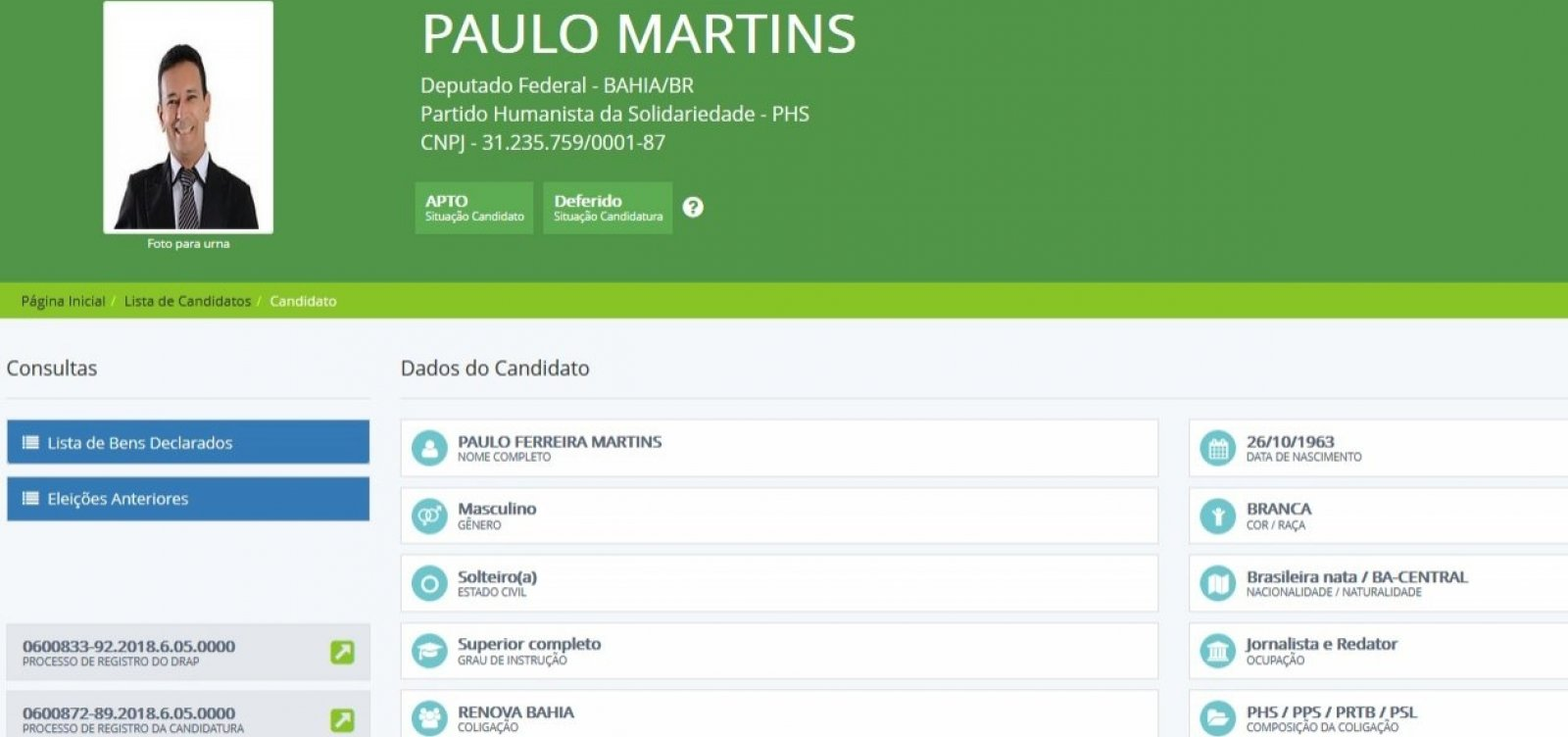 [Candidato a deputado na Bahia doa um centavo para própria campanha]