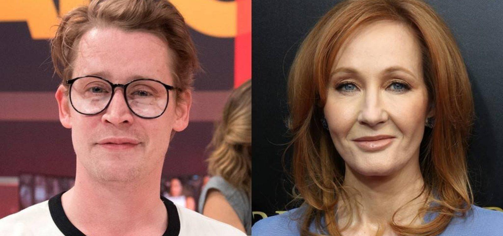 [Macaulay Culkin defende J. K. Rowling de acusação de racismo e aproveita para pedir emprego ]