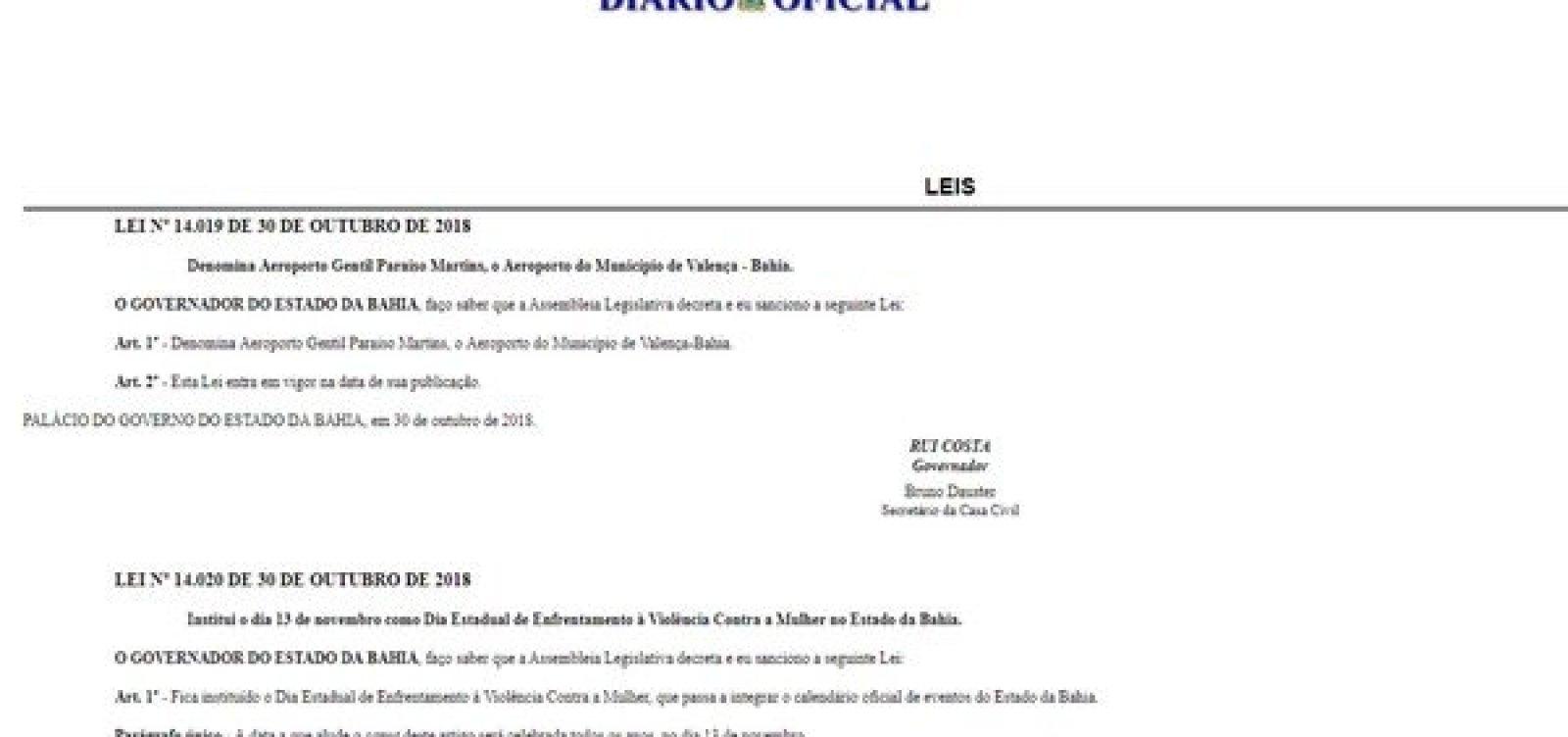[Governo institui 'Dia Estadual de Enfrentamento à Violência Contra a Mulher' na Bahia]