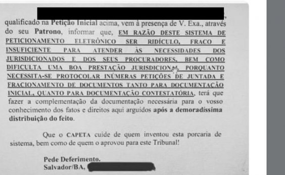 [Em petição, advogado baiano pede que 'capeta' cuide de quem aprovou PJE]