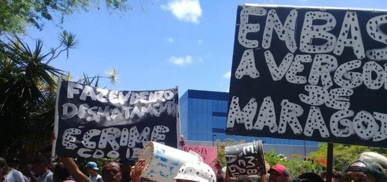 [Moradores de Maragojipe protestam em Salvador contra falta de água na cidade]