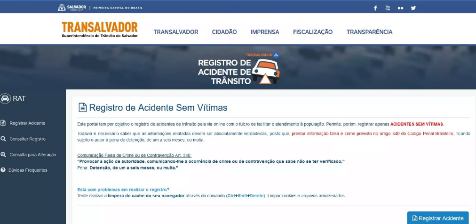 [Registro presencial de acidentes sem vítimas será suspenso pela Transalvador]