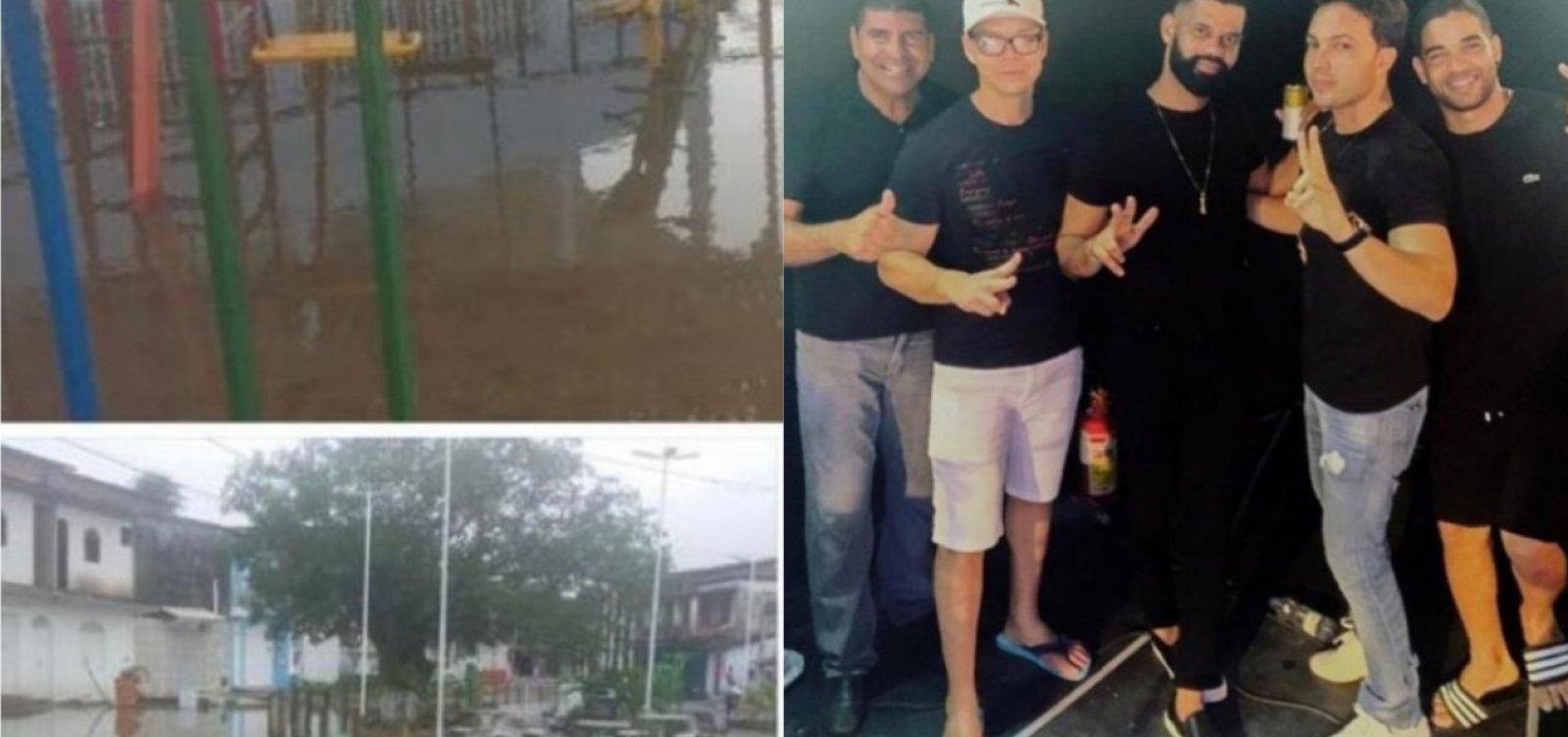[Em meio a chuvas e alagamentos, prefeito de Vera Cruz cai na balada]