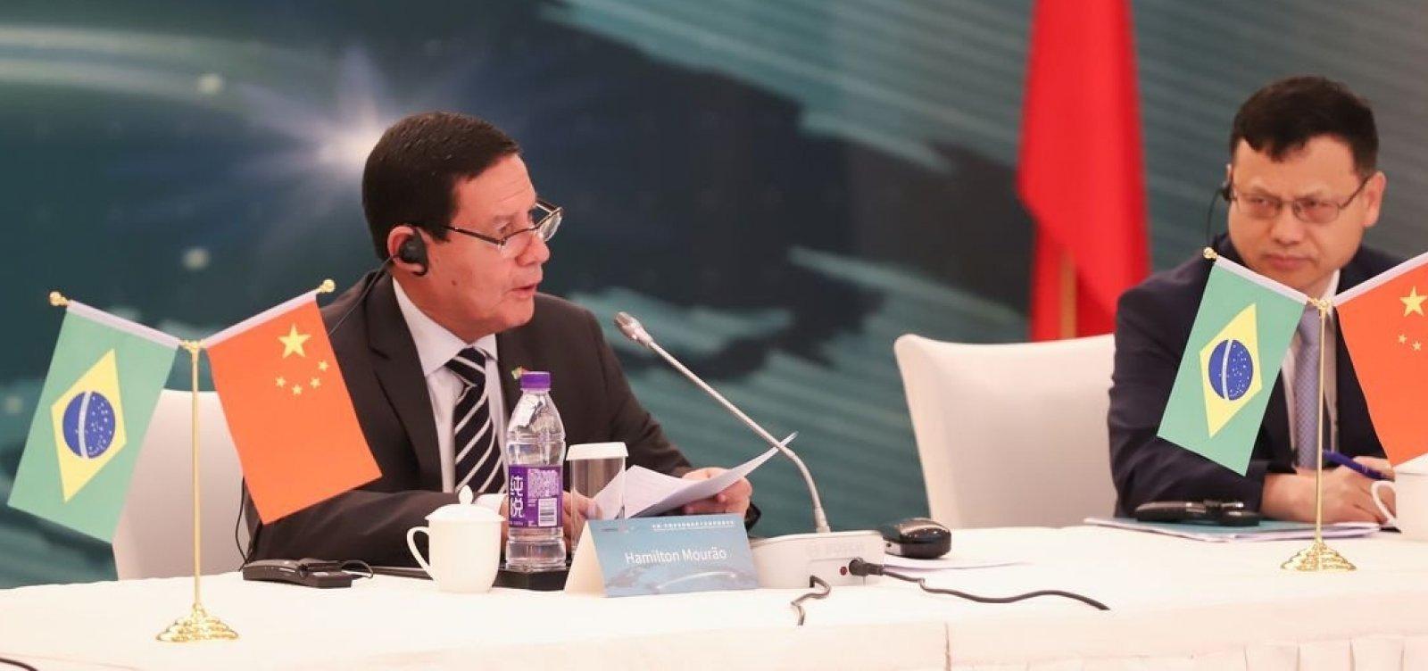 [Brasil e China vão reforçar intercâmbios e cooperação, diz Mourão]